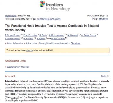 Functional Head Impulse Testing Might Be Useful for Assessing Vestibular Compensation After Unilateral Vestibular Loss